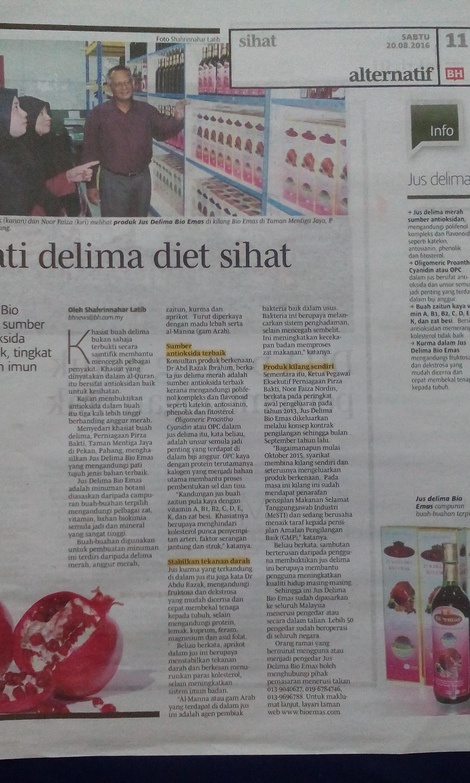 Iklan Jus Delima Bio Emas di Berita Harian